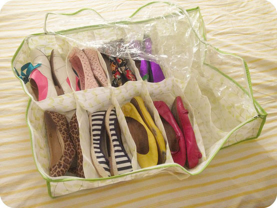 In a plastic bag, can store in wardrobe for unused shoe