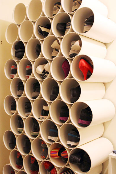 Shoe Rack that built with PVC pipe. With some painting will look even better
