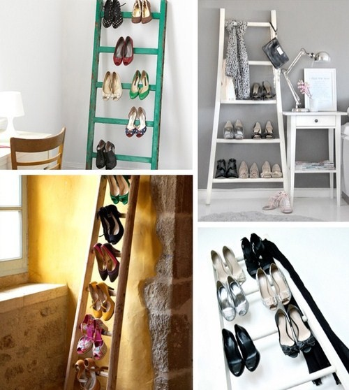 Look for recycle ladder, paint it and make it your shoe rack
